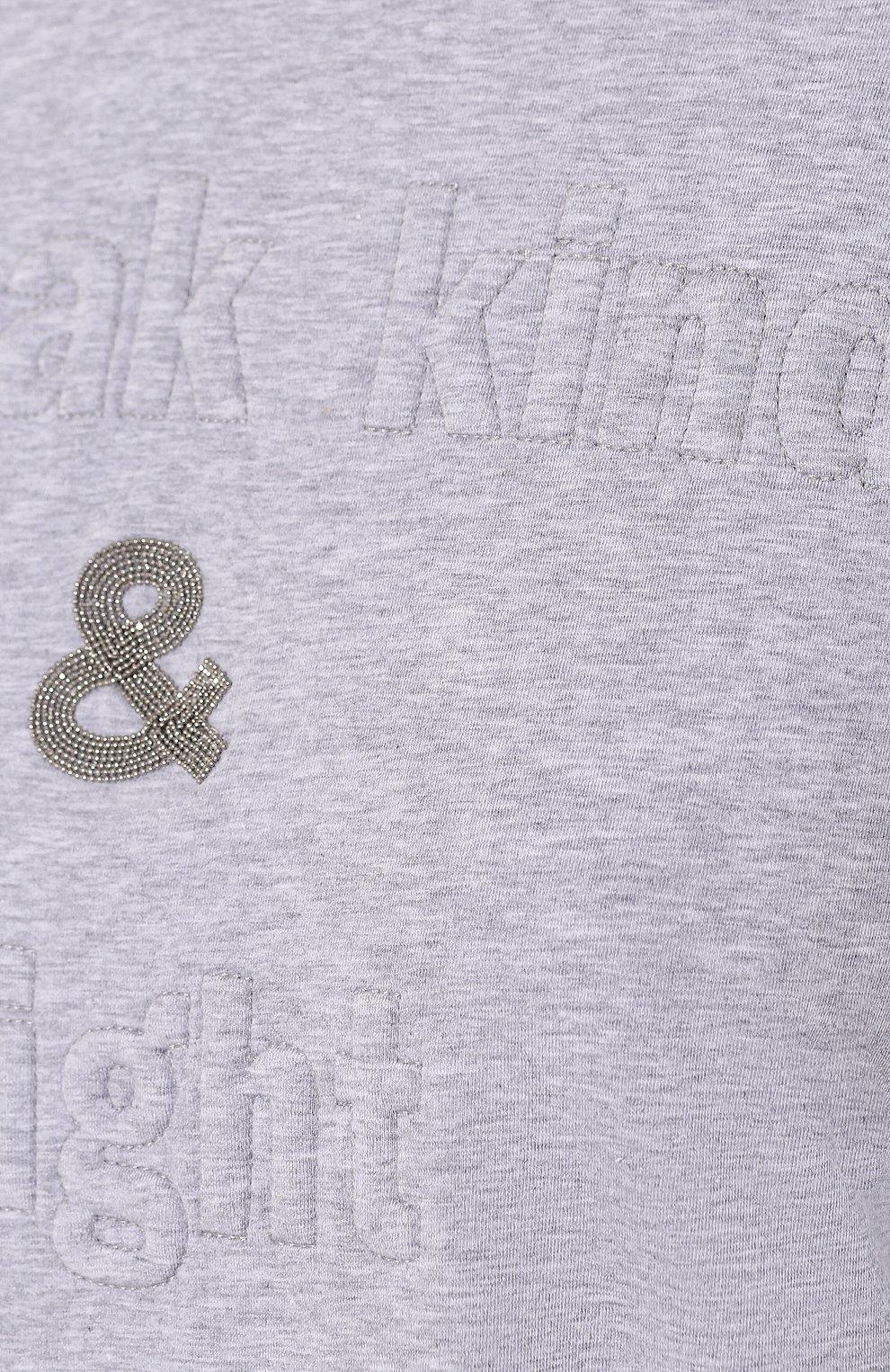 Женская хлопковая футболка BRUNELLO CUCINELLI светло-серого цвета, арт. M0T18BG400 | Фото 5