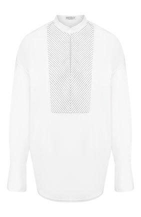 Женская хлопковая рубашка BRUNELLO CUCINELLI белого цвета, арт. M0091MD801 | Фото 1 (Длина (для топов): Удлиненные; Рукава от горловины: Длинные; Рукава: Длинные; Материал внешний: Хлопок; Статус проверки: Проверена категория; Принт: Без принта; Женское Кросс-КТ: Рубашка-одежда; Стили: Кэжуэл)