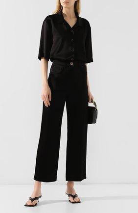 Женские брюки NANUSHKA черного цвета, арт. MARFA_BLACK_SLIP SATIN   Фото 2
