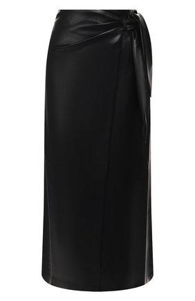 Женская юбка-миди NANUSHKA черного цвета, арт. AMAS_BLACK_VEGAN LEATHER | Фото 1