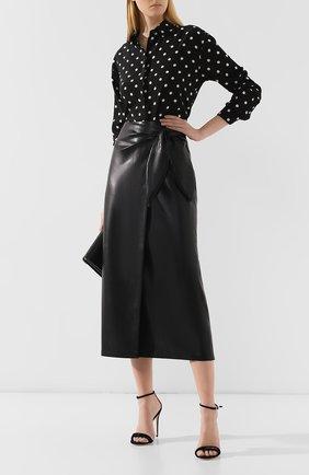 Женская юбка-миди NANUSHKA черного цвета, арт. AMAS_BLACK_VEGAN LEATHER | Фото 2