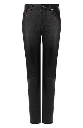 Женские кожаные брюки SAINT LAURENT черного цвета, арт. 563460/YC2UE | Фото 1