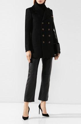 Женские кожаные брюки SAINT LAURENT черного цвета, арт. 563460/YC2UE | Фото 2