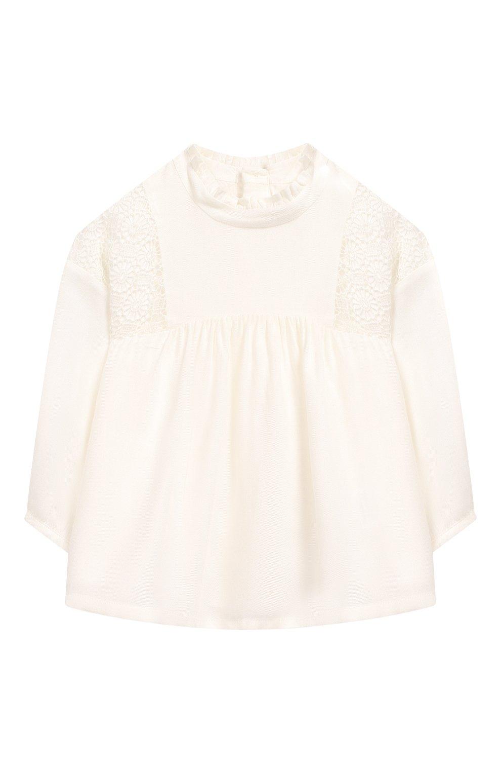 Детский блузка из вискозы и шерсти CHLOÉ белого цвета, арт. C05312 | Фото 1