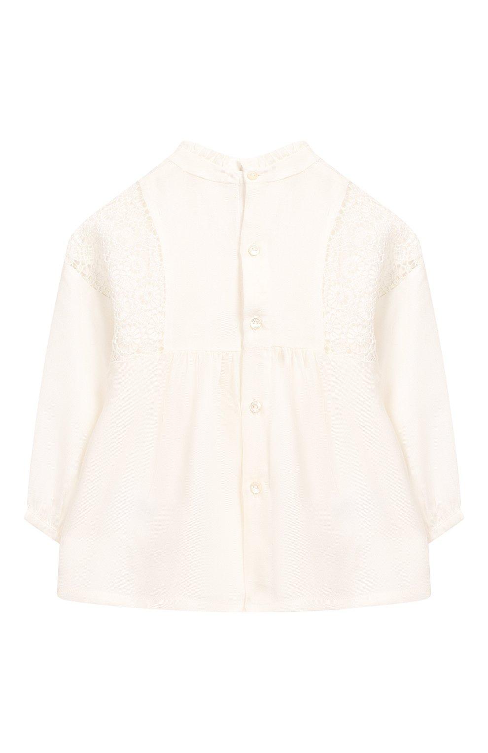 Детский блузка из вискозы и шерсти CHLOÉ белого цвета, арт. C05312   Фото 2