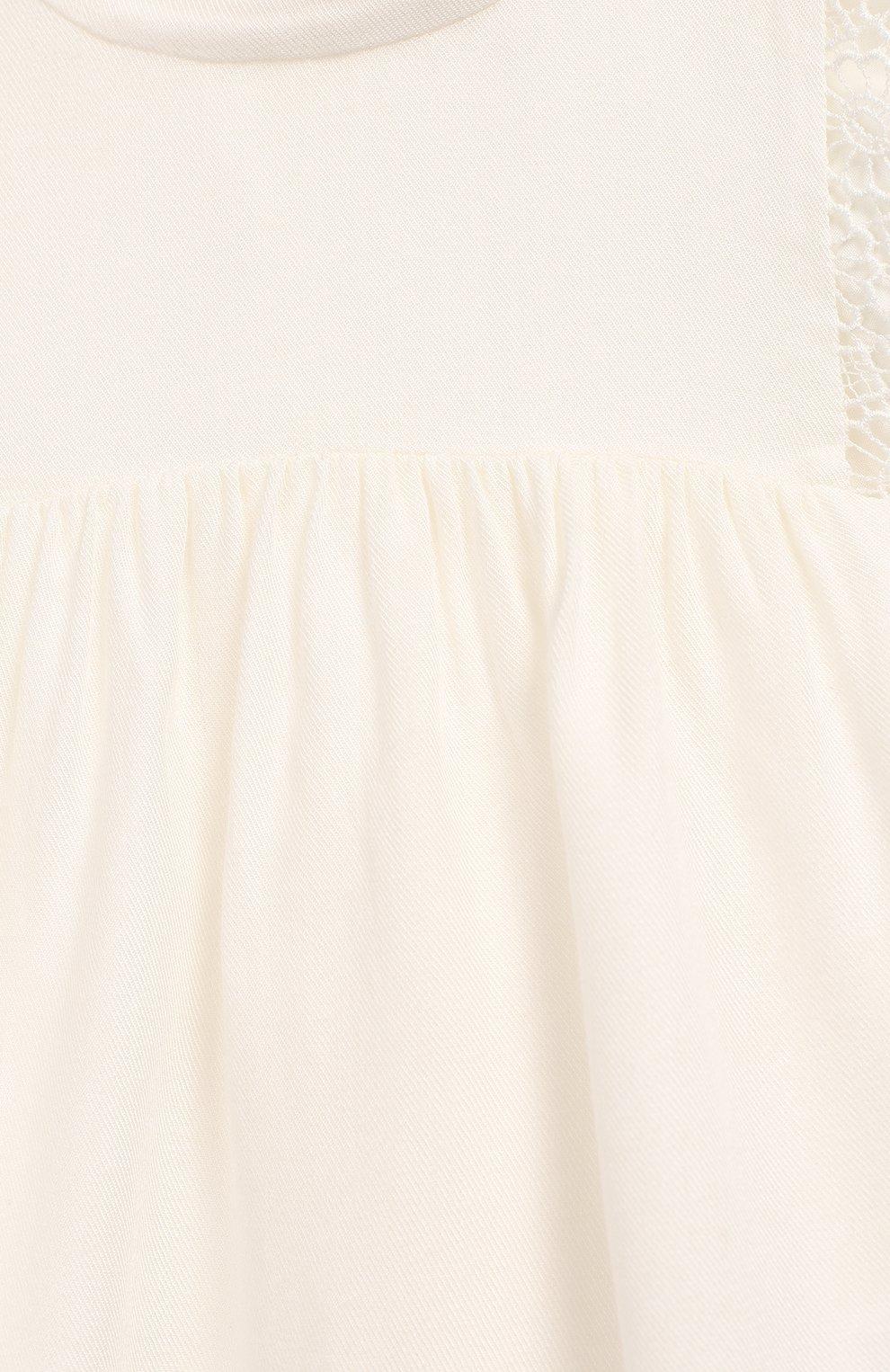 Детский блузка из вискозы и шерсти CHLOÉ белого цвета, арт. C05312   Фото 3