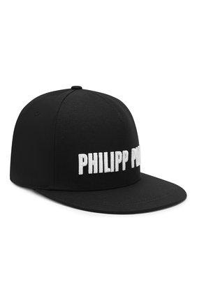 Детская хлопковая бейсболка PHILIPP PLEIN черного цвета, арт. BAC0086 | Фото 1