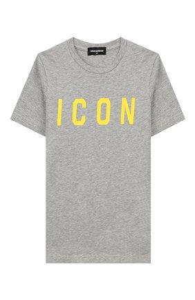 Детская хлопковая футболка DSQUARED2 серого цвета, арт. DQ03P3-D00TK | Фото 1