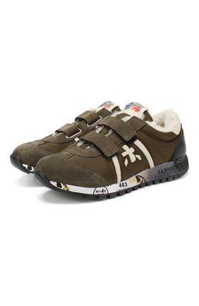 Детские кроссовки с меховой отделкой PREMIATA WILL BE хаки цвета, арт. LUCY V M/0859/JUN | Фото 1