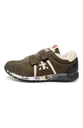 Детские кроссовки с меховой отделкой PREMIATA WILL BE хаки цвета, арт. LUCY V M/0859/TOD | Фото 2
