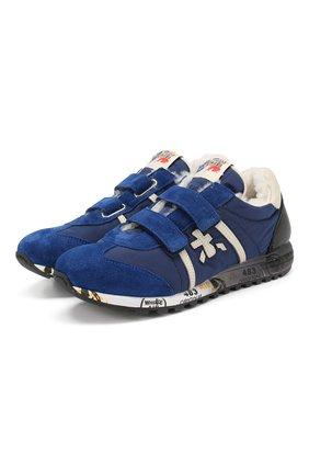 Детские кроссовки с меховой отделкой PREMIATA WILL BE синего цвета, арт. LUCY V M/0858/TOD | Фото 1