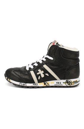 Детские кожаные кроссовки с меховой отделкой PREMIATA WILL BE черного цвета, арт. ADAM M/0326/CHILD | Фото 2