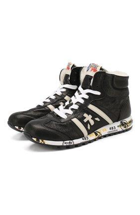 Детские кожаные кроссовки с меховой отделкой PREMIATA WILL BE черного цвета, арт. ADAM M/0326/TOD | Фото 1