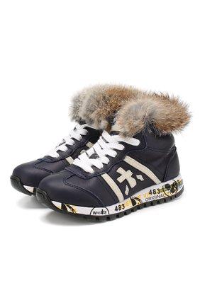 Детские кожаные кроссовки с меховой отделкой PREMIATA WILL BE синего цвета, арт. ADAM M L/1310/CHILD | Фото 1