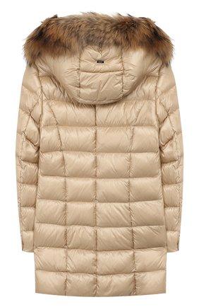 Пуховое пальто с меховой отделкой | Фото №2
