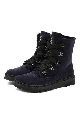 Замшевые ботинки с меховой отделкой | Фото №1