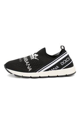 Детские текстильные кроссовки DOLCE & GABBANA черно-белого цвета, арт. DA0660/AU448/29-36 | Фото 2