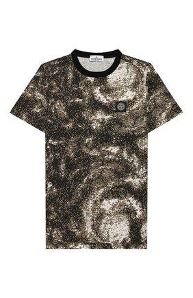 Детская хлопковая футболка STONE ISLAND хаки цвета, арт. 711622058/14 | Фото 1