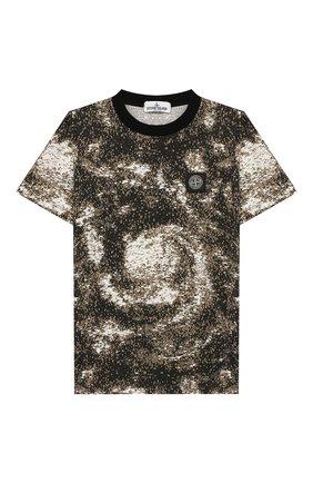 Детская хлопковая футболка STONE ISLAND хаки цвета, арт. 711622058/10-12 | Фото 1
