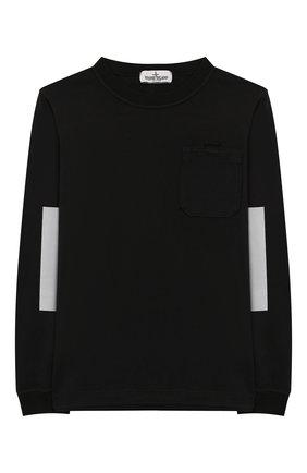 Детская хлопковый лонгслив STONE ISLAND черного цвета, арт. 711620546/10-12 | Фото 1