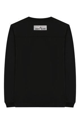 Детская хлопковый лонгслив STONE ISLAND черного цвета, арт. 711620546/10-12 | Фото 2