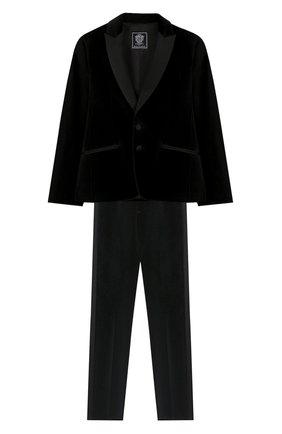 Детский костюм из пиджака и брюк DAL LAGO черного цвета, арт. N062/7712/7-12 | Фото 1