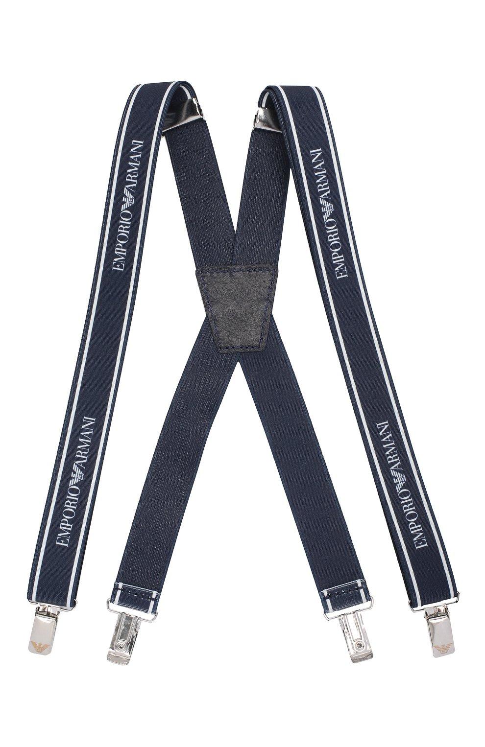 Детские подтяжки EMPORIO ARMANI темно-синего цвета, арт. 401524/9A581 | Фото 1 (Материал: Текстиль; Статус проверки: Проверено)