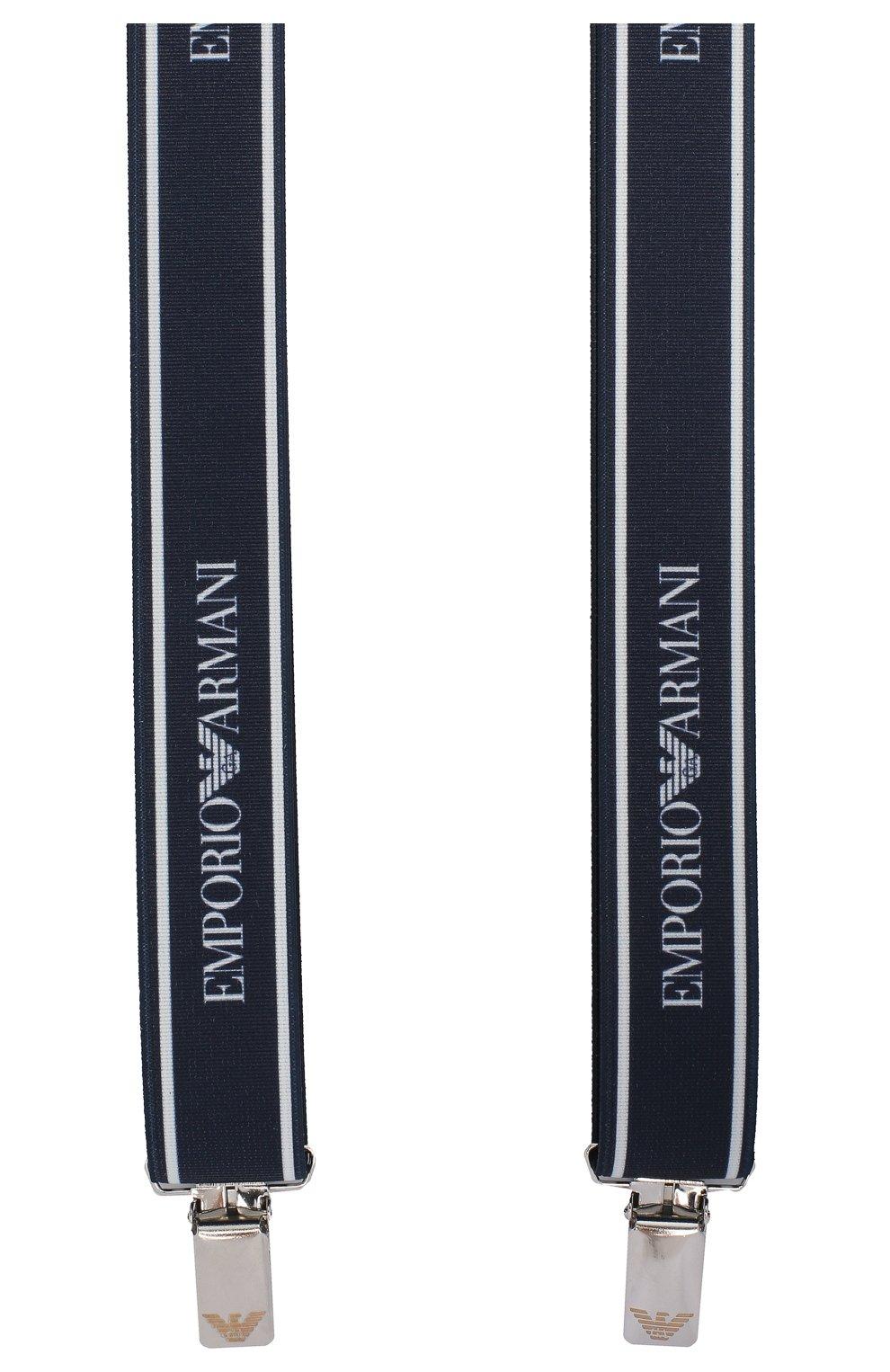 Детские подтяжки EMPORIO ARMANI темно-синего цвета, арт. 401524/9A581 | Фото 2 (Материал: Текстиль; Статус проверки: Проверено)
