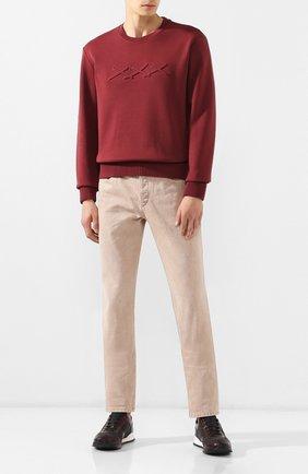 Мужские кожаные кроссовки KITON бордового цвета, арт. USSARGXN00617 | Фото 2