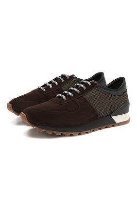 Мужские замшевые кроссовки KITON темно-коричневого цвета, арт. USSMA02N00629 | Фото 1