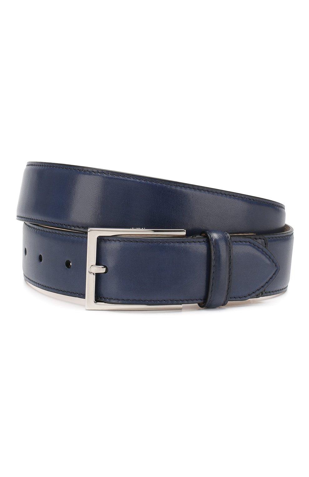 Мужской кожаный ремень BRIONI темно-синего цвета, арт. 0BAC0L/P6757 | Фото 1 (Материал: Кожа; Случай: Формальный; Статус проверки: Проверено, Проверена категория)