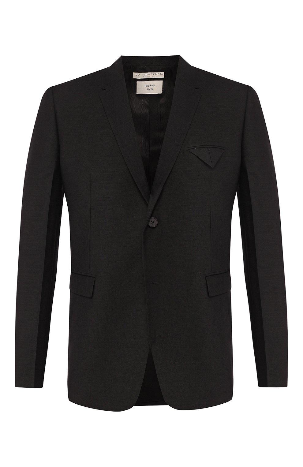 Мужской пиджак BOTTEGA VENETA черного цвета, арт. 576811/V0KI1 | Фото 1