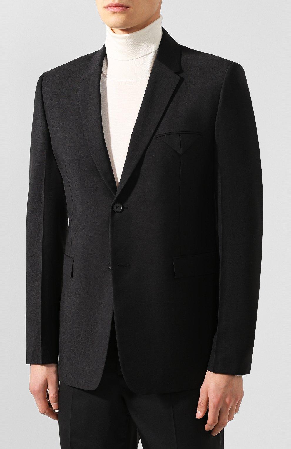 Мужской пиджак BOTTEGA VENETA черного цвета, арт. 576811/V0KI1 | Фото 3