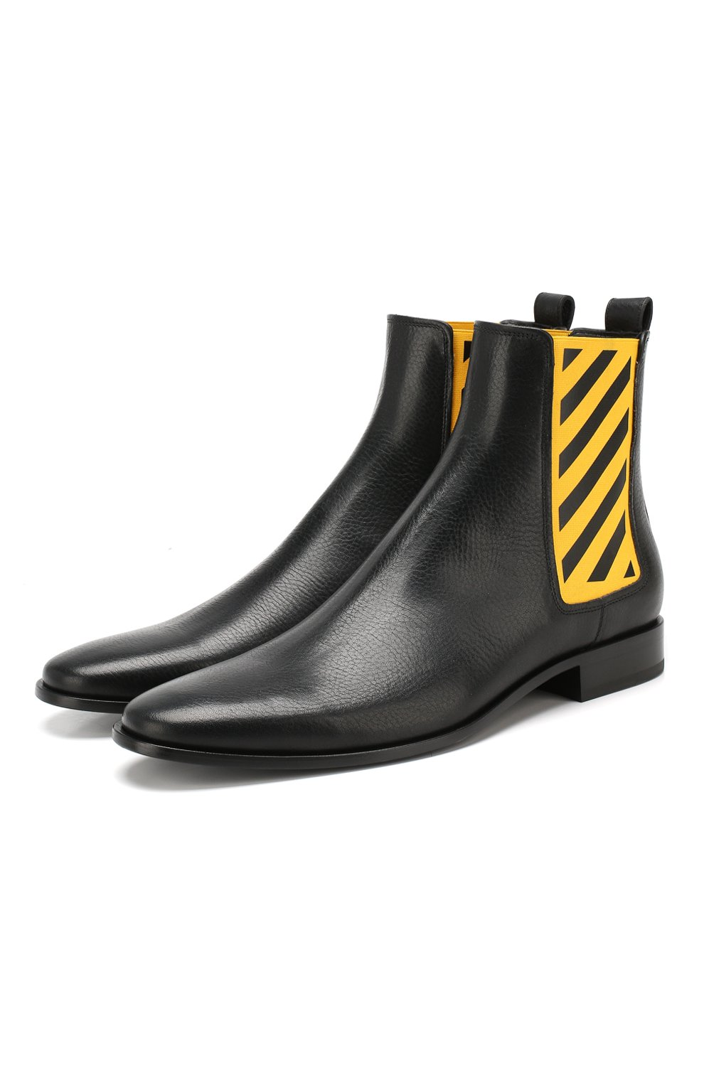 Мужские кожаные челси OFF-WHITE черного цвета, арт. 0MIA130E19D680491060 | Фото 1