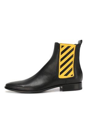 Мужские кожаные челси OFF-WHITE черного цвета, арт. 0MIA130E19D680491060 | Фото 3