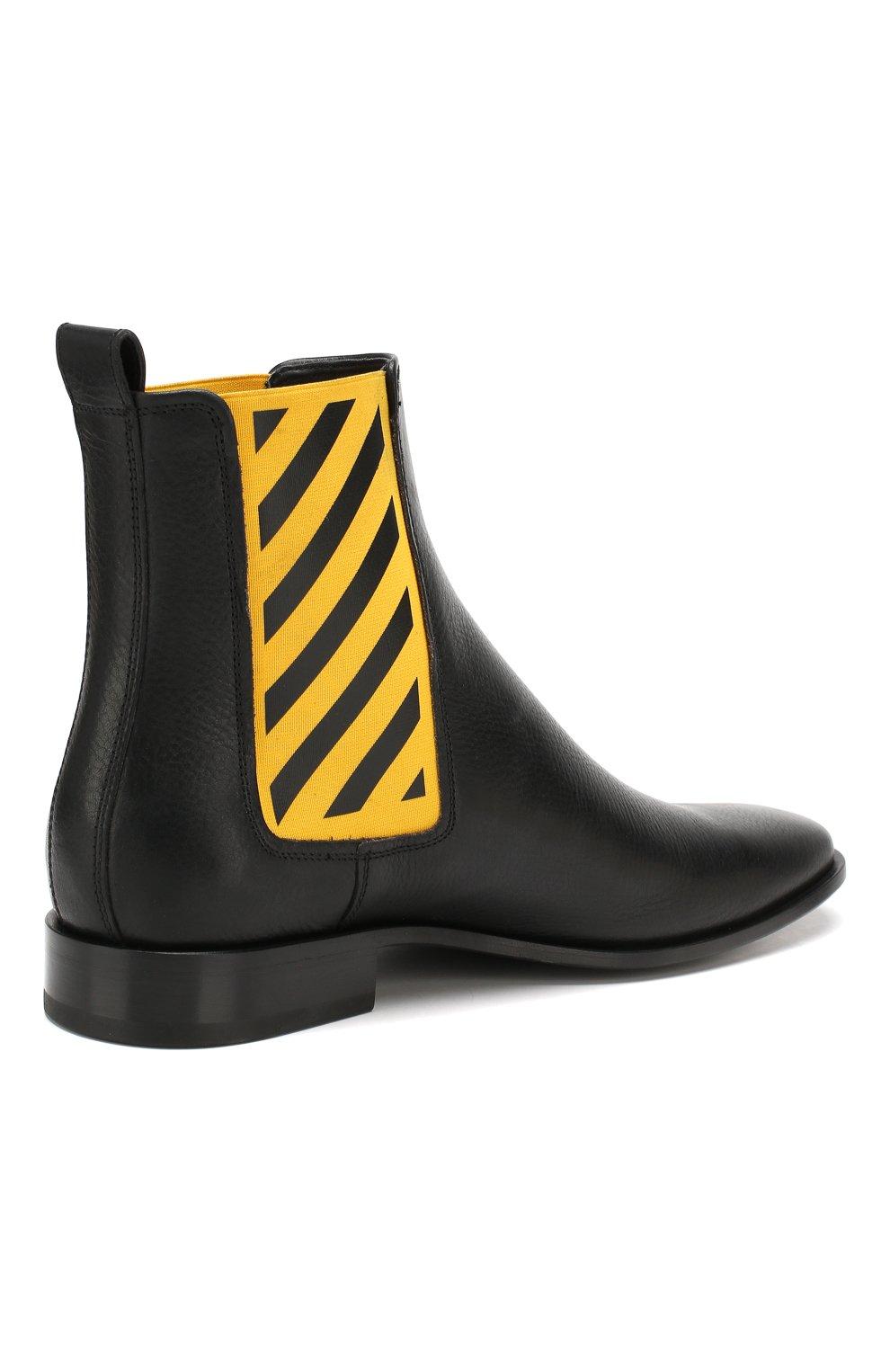 Мужские кожаные челси OFF-WHITE черного цвета, арт. 0MIA130E19D680491060 | Фото 4