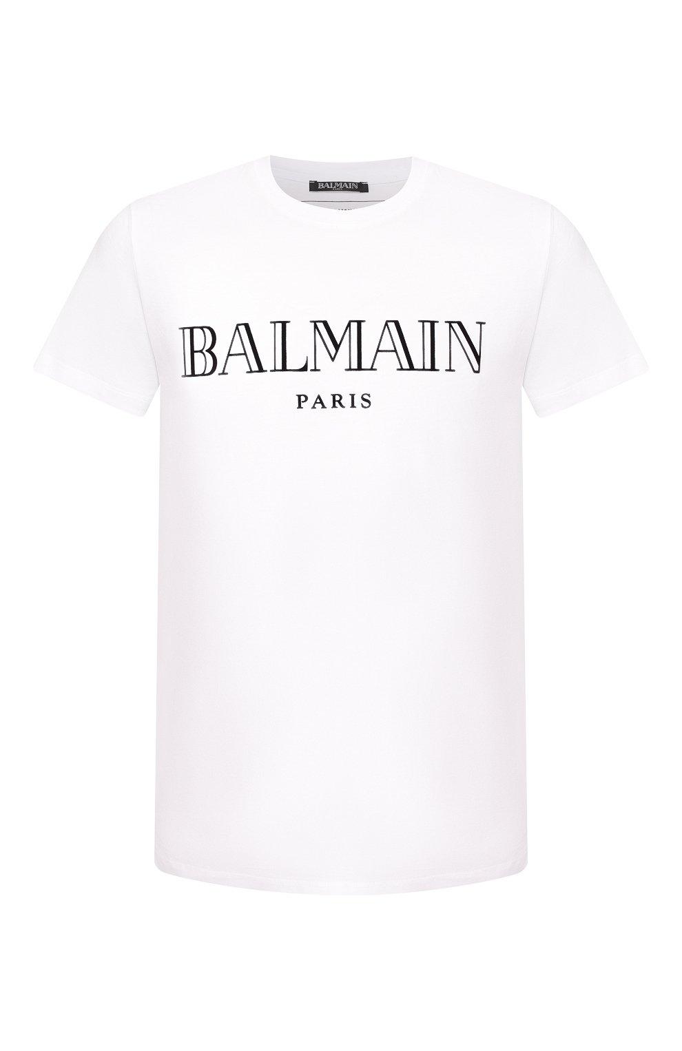 Мужская хлопковая футболка BALMAIN белого цвета, арт. SH11601/I312 | Фото 1