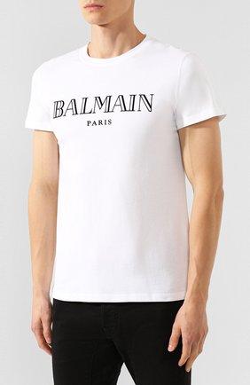 Мужская хлопковая футболка BALMAIN белого цвета, арт. SH11601/I312 | Фото 3