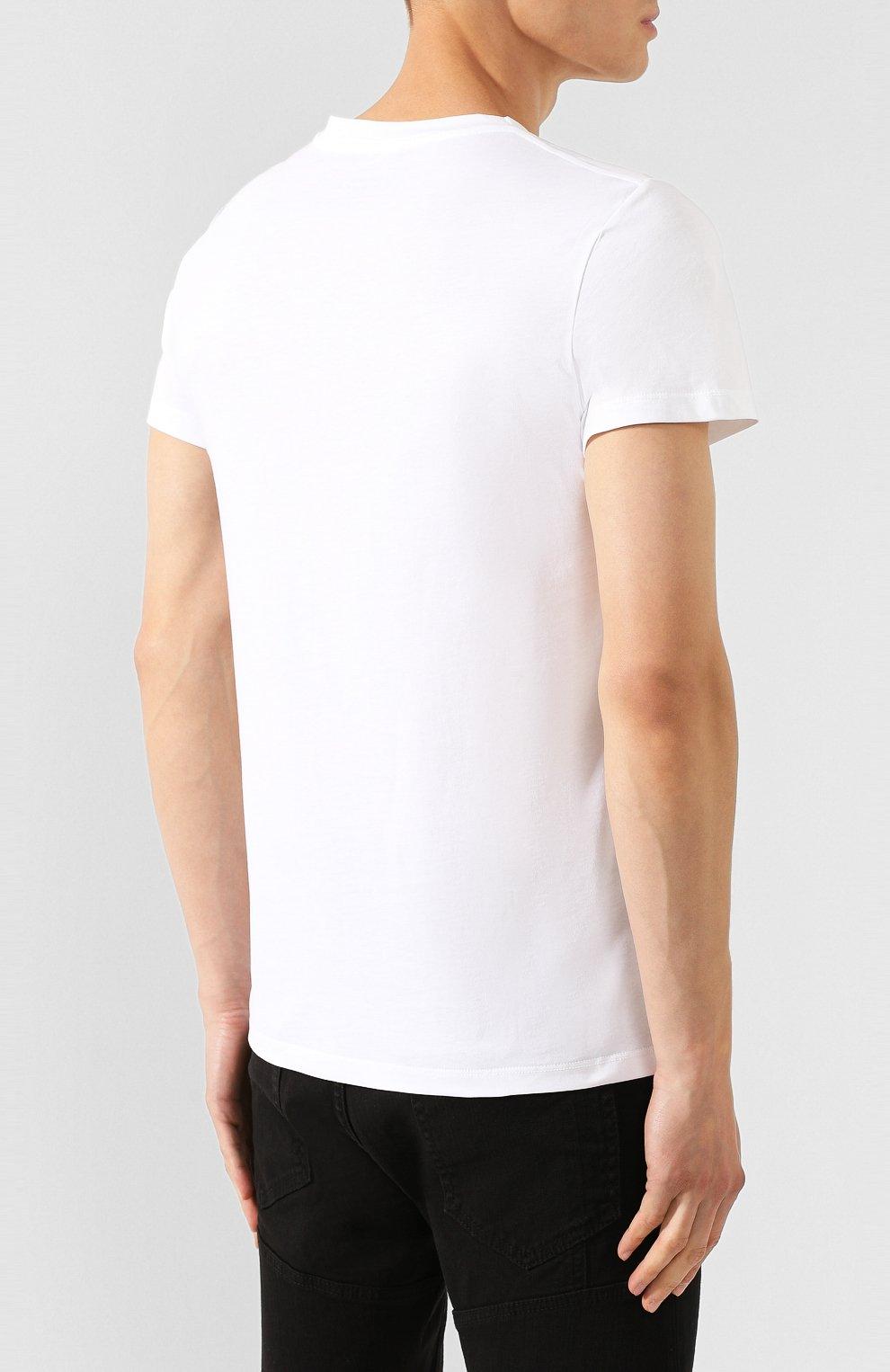 Мужская хлопковая футболка BALMAIN белого цвета, арт. SH11601/I312 | Фото 4