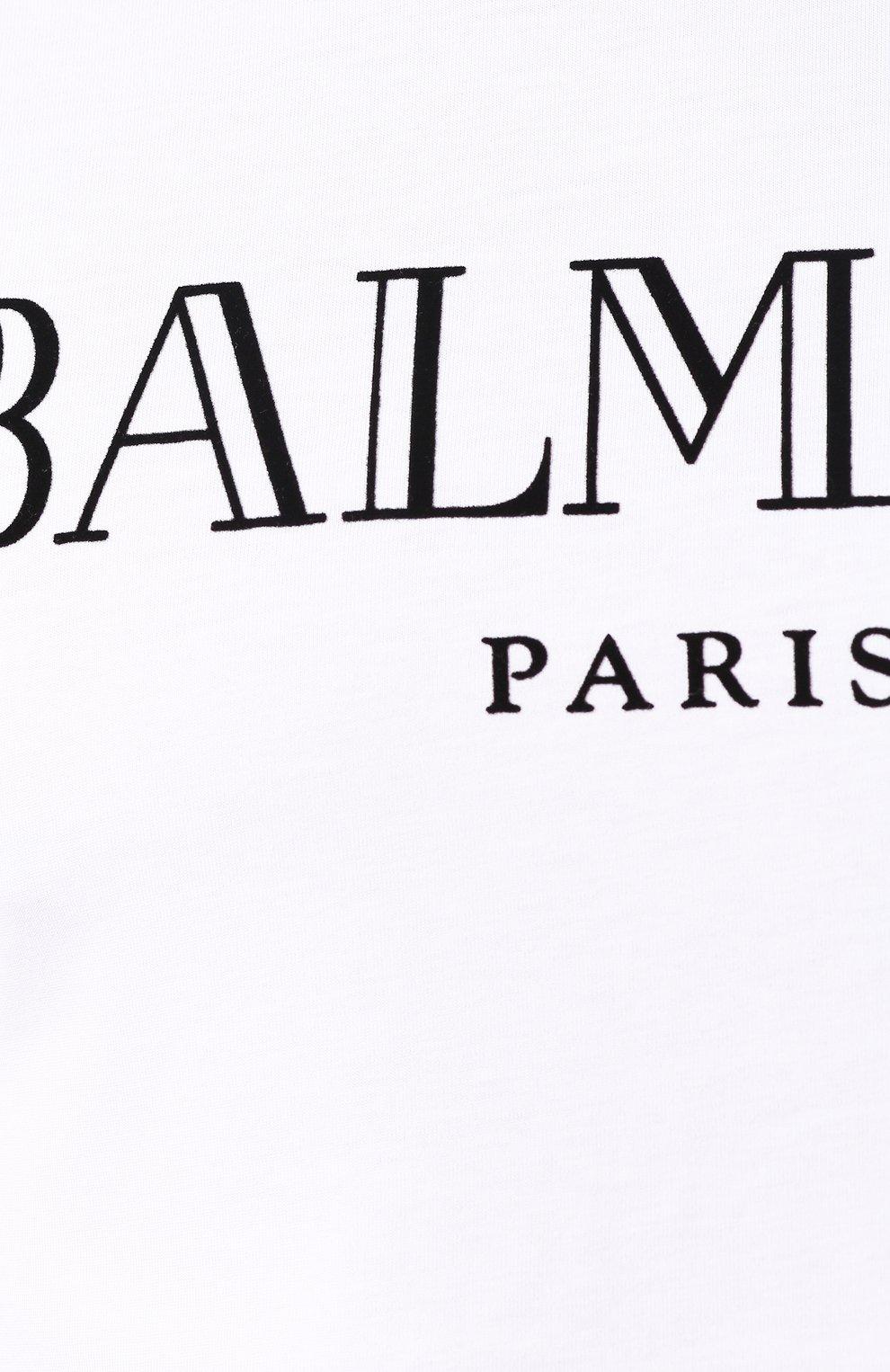 Мужская хлопковая футболка BALMAIN белого цвета, арт. SH11601/I312 | Фото 5