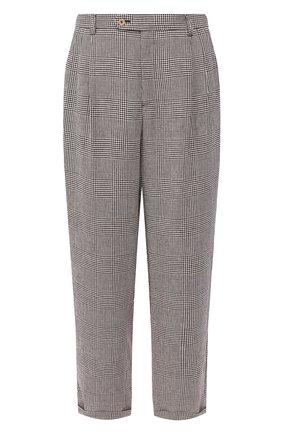 Мужской льняные брюки GUCCI коричневого цвета, арт. 568770/ZAA5R | Фото 1