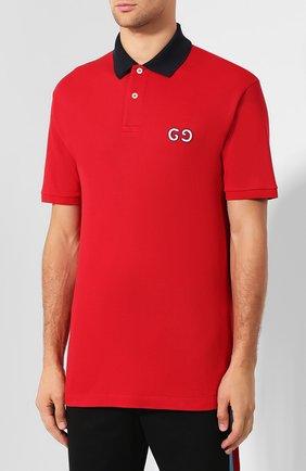 Мужское хлопковое поло GUCCI красного цвета, арт. 574086/XJA6C | Фото 3