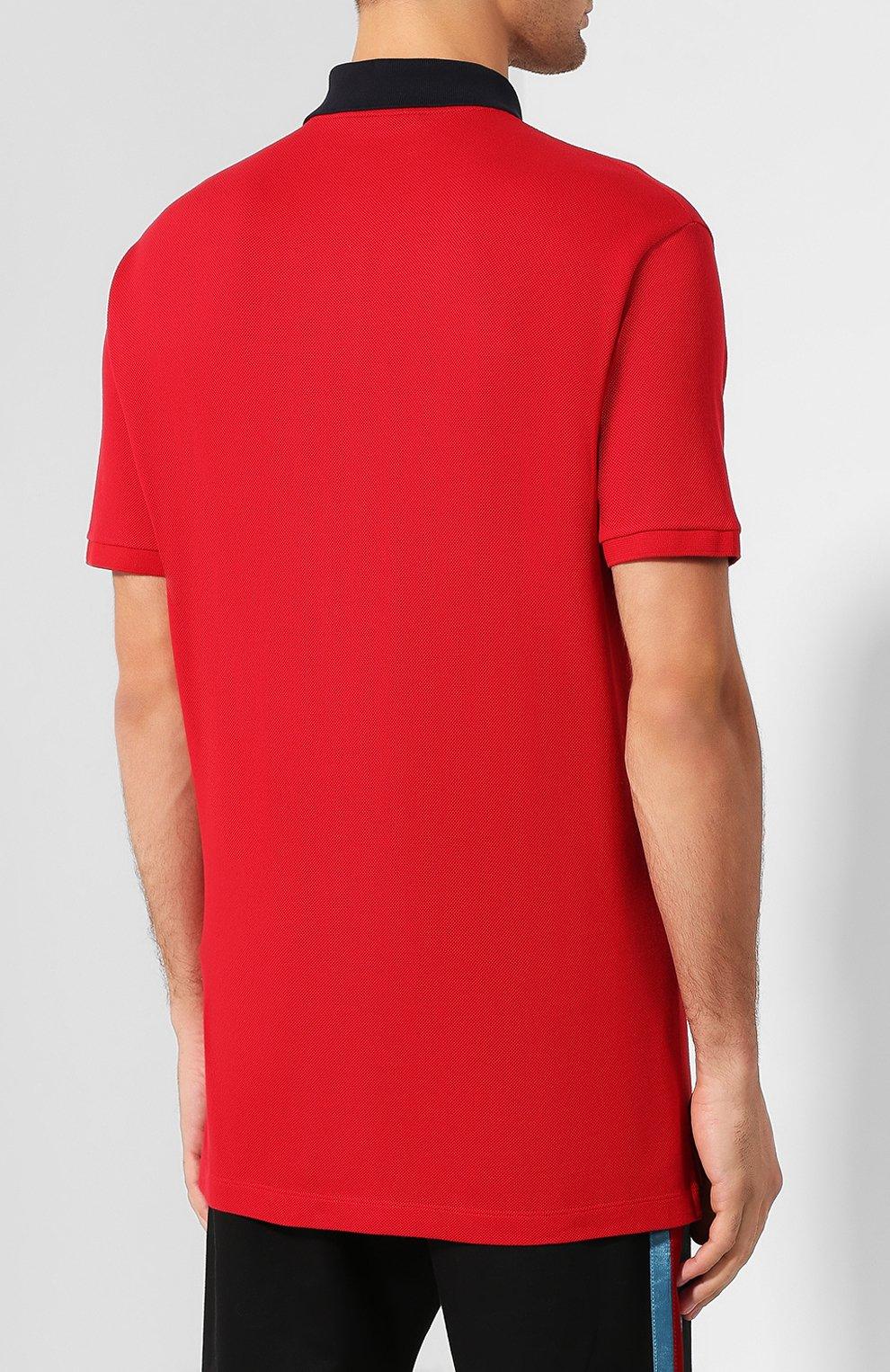 Мужское хлопковое поло GUCCI красного цвета, арт. 574086/XJA6C | Фото 4