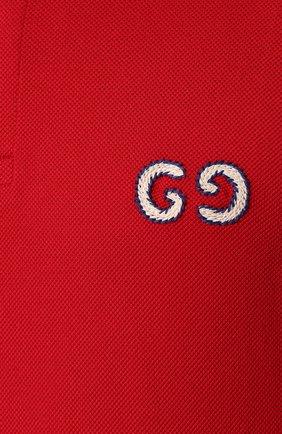 Мужское хлопковое поло GUCCI красного цвета, арт. 574086/XJA6C | Фото 5