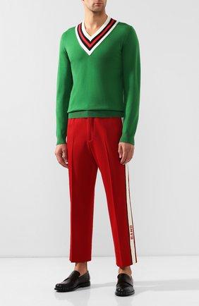 Мужской шерстяной пуловер GUCCI зеленого цвета, арт. 576802/XKAUK | Фото 2
