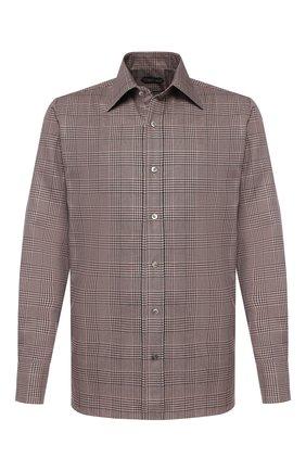 Мужская хлопковая сорочка TOM FORD коричневого цвета, арт. 6FT225/94S1JE | Фото 1