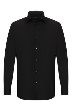 Мужская хлопковая сорочка ERMENEGILDO ZEGNA черного цвета, арт. 601069/9MS0BR | Фото 1