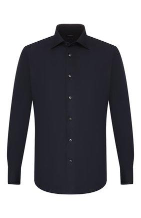 Мужская хлопковая сорочка ERMENEGILDO ZEGNA темно-синего цвета, арт. 601070/9MS0BR | Фото 1