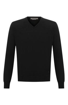 Мужской шерстяной пуловер CORNELIANI черного цвета, арт. 00M501-0025100/00 | Фото 1