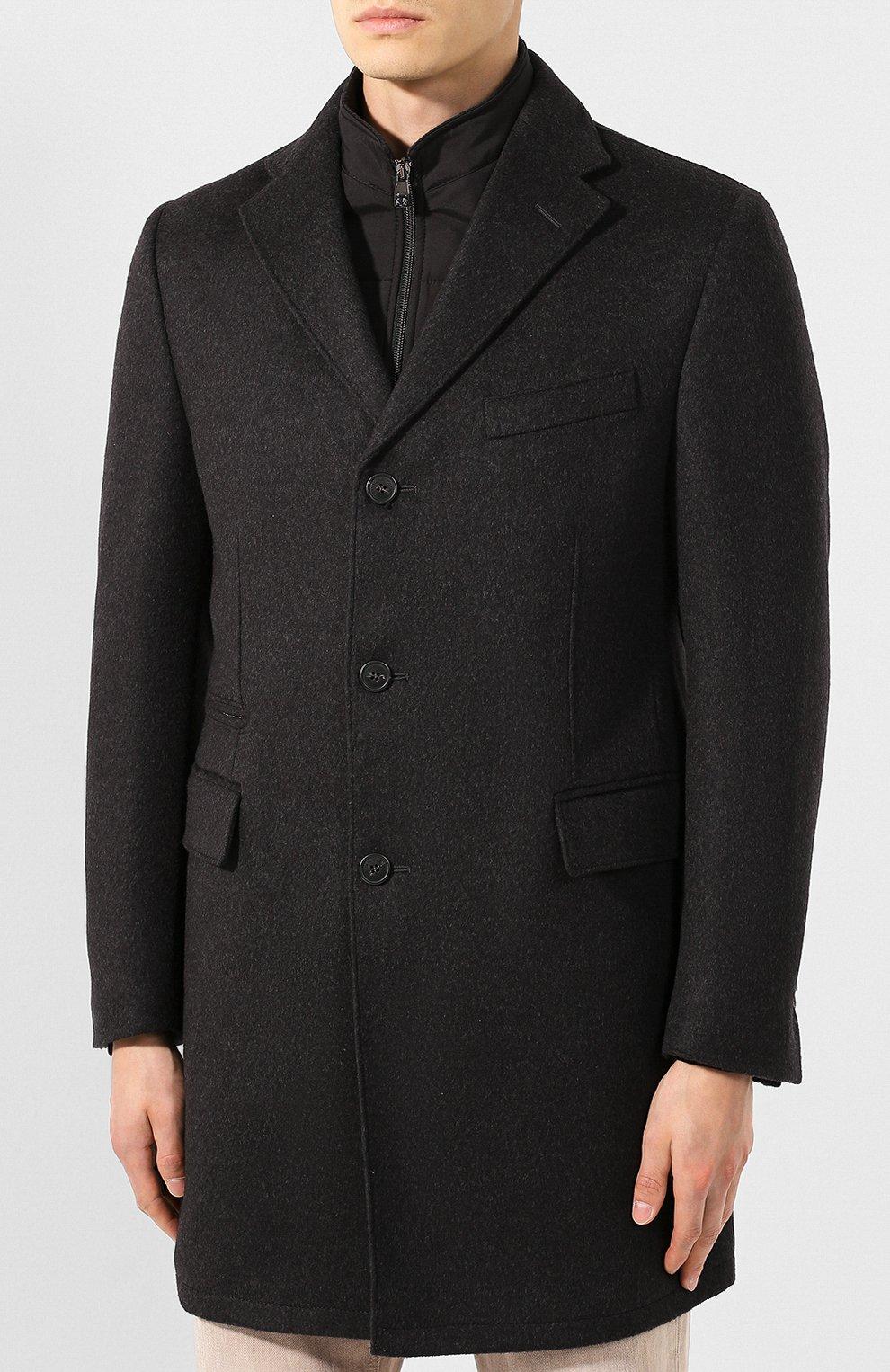 Мужской шерстяное пальто CORNELIANI темно-серого цвета, арт. 841584-9813179/00   Фото 3 (Материал внешний: Шерсть; Рукава: Длинные; Материал подклада: Синтетический материал; Мужское Кросс-КТ: Верхняя одежда, пальто-верхняя одежда; Статус проверки: Проверено; Стили: Кэжуэл)